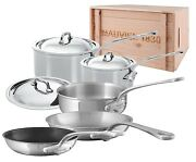 Mauviel M'cook 5 Ply Stainless Steel 8 Pc Cookware Set Steel Handle Wooden Crate