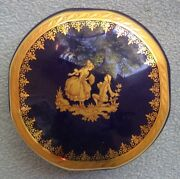 Limoges Castel Marquise Cobalt With Gold Round Covered Trinket Box