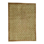 10and039x13and03910 Hand Knotted Agra With Rosette Design Pure Wool Oriental Rug R35470