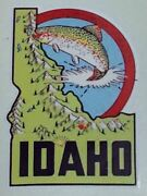1950and039s Idaho Travel Sticker Porsche Jeep Cadillac Ford Chevrolet Mercedes Decal