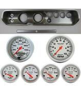 65 Chevelle Silver Dash Carrier W/ Auto Meter 3-3/8 Ultra-lite Electric Gauges