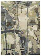 Sphinx Blue Lined Curves Splotches Faded Contemporary Area Rug Abstract 8027a