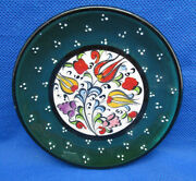 Art Pottery Coaster Pin Dresser Dish Enamel Flowers Dots Glazed Signed Nimot 4""