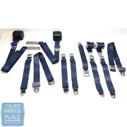 1978-88 Gm G Body Cars Factory Style Front Bucket And Rear Seat Belts - Navy Blue