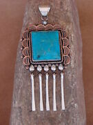 Native American Jewelry Stamped Copper Turquoise Pendant Handmade 1