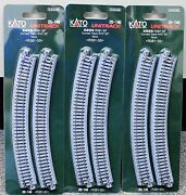 Lot Of 3 - N Scale Kato Unitrack 20-140 Curved Track R381-30 4 Pieces Per Pack