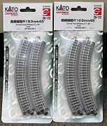 Lot Of 2 - N Scale Kato Unitrack 20-172 Curved Track R183-45 4 Pieces Per Pack