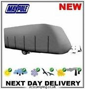 New 2020 Grey Deluxe 4 Ply Caravan Winter Summer Cover Breathable 14 15 16 17 Ft