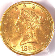 1886-s 10 Ms62 Pcgs/cac- Only 331 In Higher Grade-liberty Head