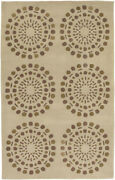9x13 Surya Ivory Circles Hand Tufted Lines Dots Area Rug Bst-435 - Aprx 9and039x13and039
