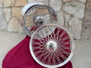 60 Spoke Wheel Set 21 X 2.15 And 18 X 8.5 For Harley Chopper