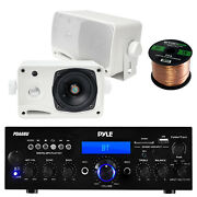 Pyle Bluetooth Amp Receiver 2x 3.5and039and039 200w Mini Box White Speaker 50 Ft Wire