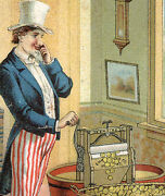 Uncle Sam Wringing Out Gold Dollars Empire Wringer Trade Card, Beautiful C114