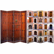 Oriental Furniture 6 Ft. Tall Double Sided Doors Canvas Room Divider 4 Panel