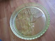 Vintage Used Pressed Glass Green Depression Tray Etched Farm Graphics