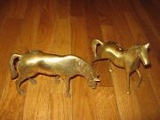 2 Pc Vintage Brass Pair Statues Figurines Horse Horses