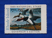 U.s. Ri01gc 1989 Rhode Island Governor Edition Duck Stamp - Contingency Issue