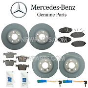 For Mercedes W205 Front And Rear Brake Pad Sets And 2 Disc Rotors Sensors Lubes Kit