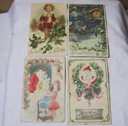 Antique Embossed Christmas New Year Postcards W/ Santa Lot Of 4 T