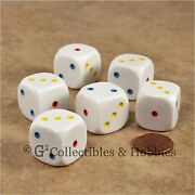 New 6 Large 20mm D3 Six Sided 1 To 3 Twice Spotted Multi-color Pip Game Dice Set