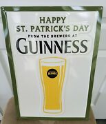 Guinness Blonde Beer Happy St Patricks Day Tin Sign Embossed New 20 X 14