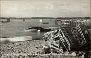 Pine Point Me Old Lobster Traps Crates On Beach Real Photo Postcard