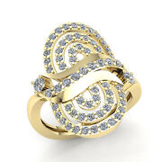 Real 3ct Round Cut Diamond Womens Wavy Fancy Wedding Band Ring 10k Gold Gh Si1