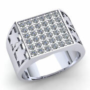3ct Round Brilliant Cut Natural Diamond Menand039s Star Pave Wedding Band 18k Gold