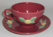 Coors Pottery Rosebud Red Cup - Saucer Set
