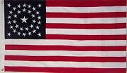 Heavy Cotton 34 Star American Flag Embroidered And Sewn - Historical Usa