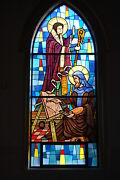 + Nice Stained Glass Church Window + Bishop 8 Of 10 + + Chalice Co.