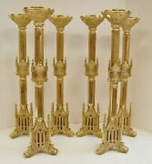 + Nice Set Of 6 Ornate French Gothic Church Altar Candlesticks + 24 Ht. + 34