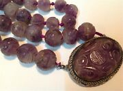 Antique Carved Chinese Amethyst Beads And Silver Hallmark Necklace M975