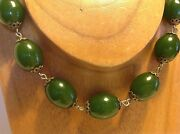 Vintage Chinese Green Bakelite Rare Oval Beads 75.3 Gram Necklace 46 Cm M1217