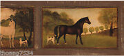 Horses Dogs Framed Frame Golden Brown Country Tuscany Tuscan Wall Paper Border