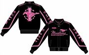 Ford Mustang Jacket Ladies Black Twill Pink Embroidered Logos Mustang Womenand039s