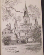 Etching Steel Engraving Don Davey New Orleans St Louis Cathedral Circa 1976