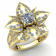 Real 2carat Round Cut Diamond Ladies Bridal Solitaire Flower Fancy Ring 18k Gold