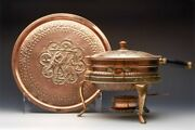 Antique Middle Eastern Figural Copper Chafing Dish And Stand Early 20th C.