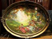 Antique Painting Pastel Scene Amatory In Park Per Stelly Desmoulins Framed
