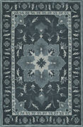 Black Pedals Leaves Bordered Vines Transitional Area Rug Floral Tb4