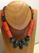 Antique Chinese Turquoise Huge Beads Coral Necklace Tibet Jewelry M1305
