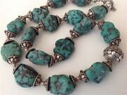 Antique Chinese Raw Turquoise Beads Silver Necklace Original Jewelry M1081