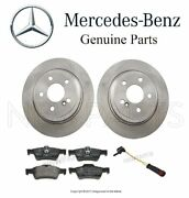 For Mercedes W220 S350 S430 Set Of 2 Rear Brake Disc Rotors W/ Pads And Sensor Oes