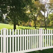40' Of 4' High Pvc Vinyl Denville Style Straight Traditional Picket Fence