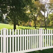 96' Linear Feet Of 4' High Pvc Vinyl Denville Straight Traditional Picket Fence