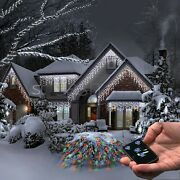 Christmas 200 Icicle Snowing White Led Xmas Lights Party Outdoor Garden W Remote