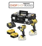 Dewalt 18v Xr Combi Drill And Impact Driver Twin Kit, 2 X 4.0ah Battery Dcz285m2t