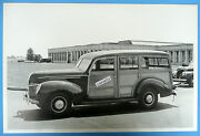 12 By 18 Black And White Picture 1939 Ford Woody Station Wagon
