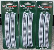Lot Of 3 - N Scale Kato Unitrack 20-150 Curved Track R718-15 4 Pieces Per Pack